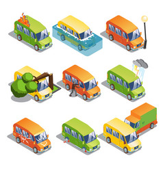 isometric car insurance set vector image