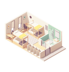 isometric hostel room cross-section vector image