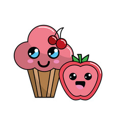 Kawaii cherry cup cake and apple icon with vector