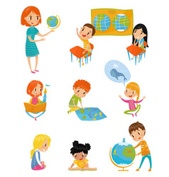 kids at geography lesson set preschool activities vector image
