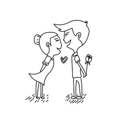 line art cartoon couple in love design on white vector image