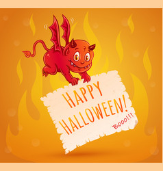 Little devil and fire for halloween vector