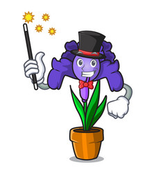 Magician iris flower mascot cartoon vector