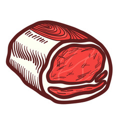 Meat of steak icon hand drawn style vector