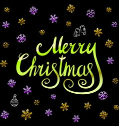 Merry Christmas - green glittering lettering vector image