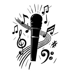 microphone and music notes hand drawn vector image