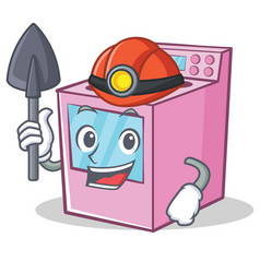 Miner gas stove character cartoon vector