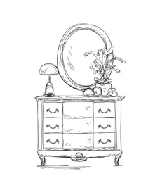 Mirror and commode for make up vector