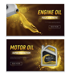 Motor oil realistic banners vector
