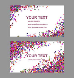 Multicolor chaotic triangle business card design vector image