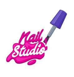 Nail art studio logo design concept brush with vector