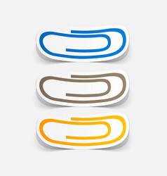 Paper clipped sticker clip vector