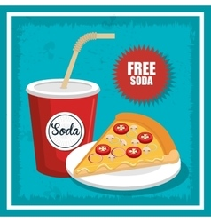 pizza and soda isolated icon design vector image