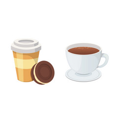 plastic coffee cup with hot coffee in cartoon vector image