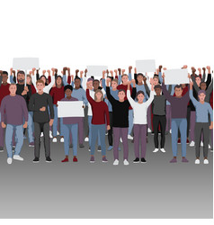 protesting people with fists raised seamless vector image