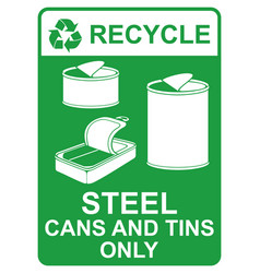 recycle sign - steel cans and tins only vector image