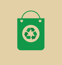 Recycle symbol on shopping bag green arrows logo vector