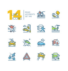 road accidents - set of line design style icons vector image