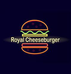 Royal cheeseburger bright neon street signboard vector
