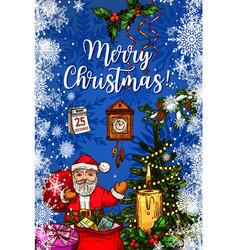 Santa claus with gift bag christmas greeting card vector