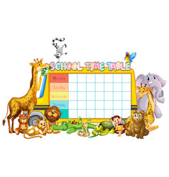 School timetable template with african animals vector