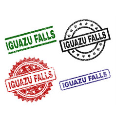 Scratched textured iguazu falls stamp seals vector