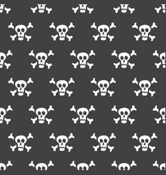 seamless pattern white skulls with bones on a vector image