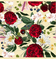 seamless pattern with red peony roses vector image