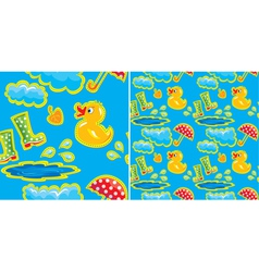 seamless pattern with rubber duck and boots vector image