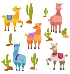 set cute cartoon lamas characters vector image