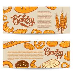 set of bakery banner templates isolated on white vector image