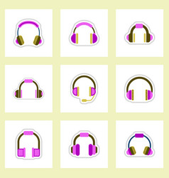 Set of color label design collection of music vector