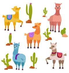 Set of cute cartoon lamas characters with vector