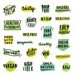 set of food badges vector image