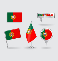 Set of Portuguese pin icon and map pointer flags vector