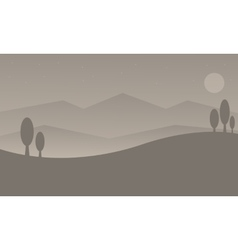 Silhouette of hill with gray backgrounds vector