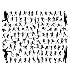 silhouettes tennis players vector image