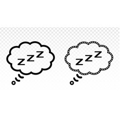 Slumber in thought bubble icon for sleep apps vector