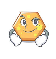 Smirking hexagon character cartoon style vector