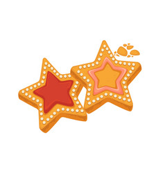 star shape biscuits with caramel framed by sugar vector image
