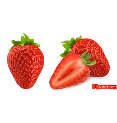 Strawberry image fresh fruit 3d realistic icon vector