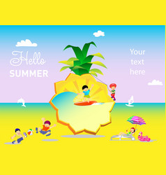 summer holiday on background pineapple vector image