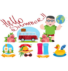 summer travel color beach theme summer items vector image