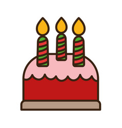 sweet cake with candles dessert icon vector image