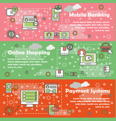 Thin line art mobile banking web banner set vector