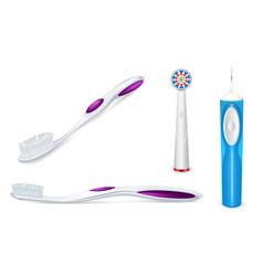 toothbrush icon set realistic style vector image