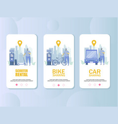 transport rental mobile app onboarding screens vector image