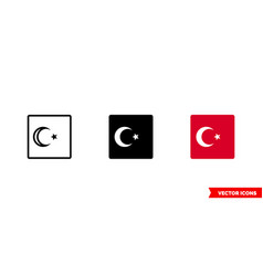 turkey flag icon 3 types isolated sign vector image