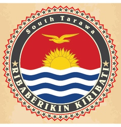 Vintage label cards of Kiribati flag vector image