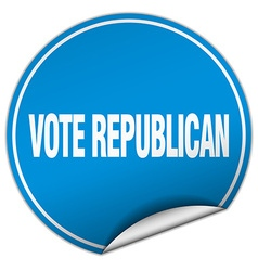 Vote republican round blue sticker isolated on vector